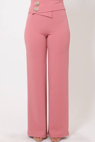 Oversized Button Front Detail Pants