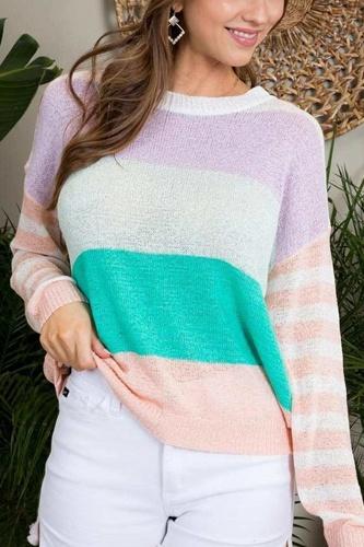 Round Neck Stripe Print Long Sleeve Color Block Sweater