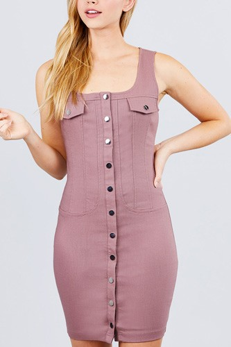 Sleeveless Deep Square Neck Button Down Detail Mini Woven Dress