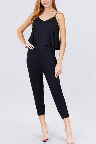 Cami Layered Top Capri Knit Jumpsuit