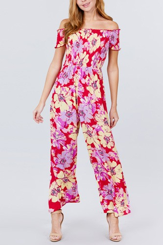 Short Sleeve Off The Shoulder Smocked Detail With Floral Print Long Wide Leg Jumpsuit.