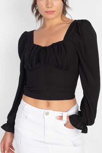 Square Neck Smocked Crop Top