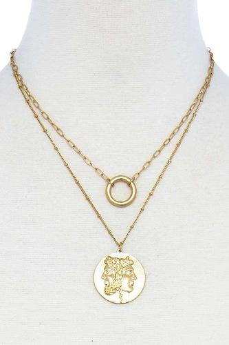 Fashion Greek Face Pendant Necklace