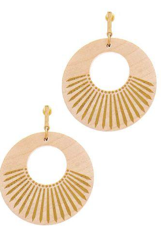 Fashion Wooden Circle Drop Earring