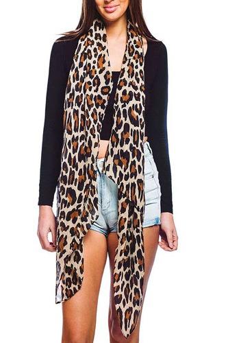 Designer Chiffon Trendy Leopard Print Scarf