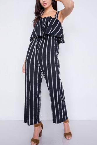 Stripe Buckle Shoulder Wide Leg Jumpsuit