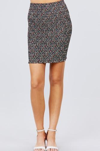 Waistband All Over Smocked Print Woven Mini Skirt