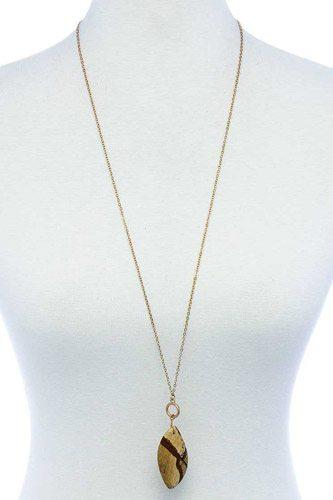 Fashion Oval Stone Pendant Long Necklace
