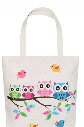 Cute Owl Family Cartoon Print Ecco Tote Bag