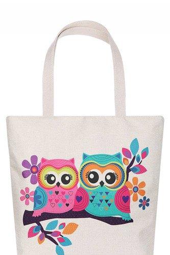 Cute Owl Couple Cartoon Print Ecco Tote Bag