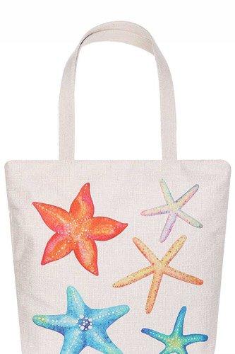 Rainbow Color Star Fish Print Ecco Tote Bag
