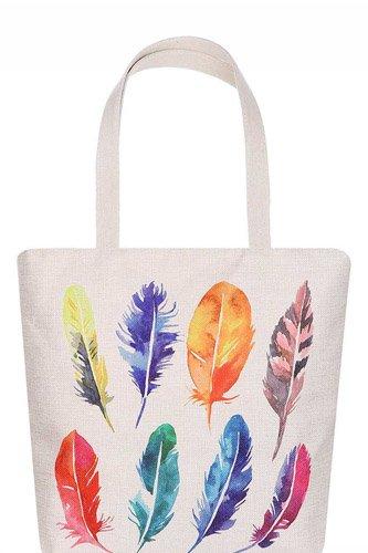 Fashion Multi Color Feather Water Color Print Ecco Tote Bag
