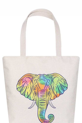 Stylish Rainbow Elephant Print Ecco Tote Bag