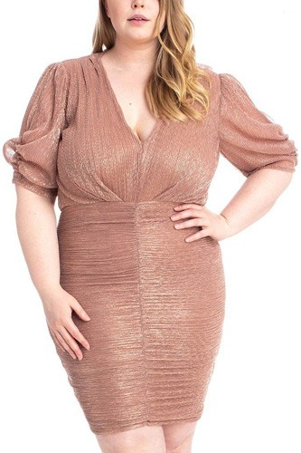 Ribbed Shimmer Shirring Mini Dress