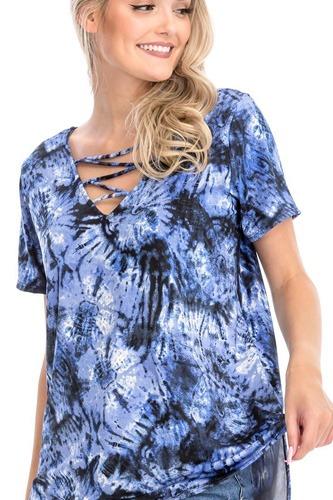 Tie Dye Print Short Sleeve Top