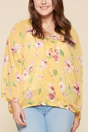 Plus Size Floral Chiffon Sheer Surplice Top