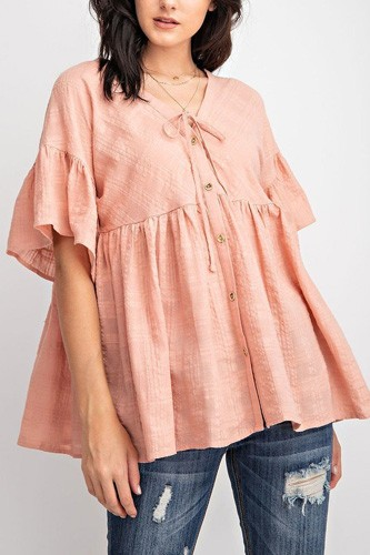 Bell Slvs Textured Cotton Gauze Button Front Tunic