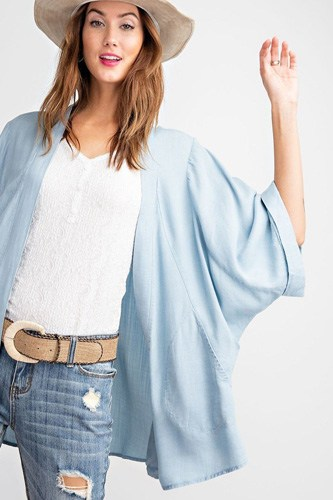 Soft And Lightweight Dolman Slvs Washed Denim Linen Look Open Cardigan