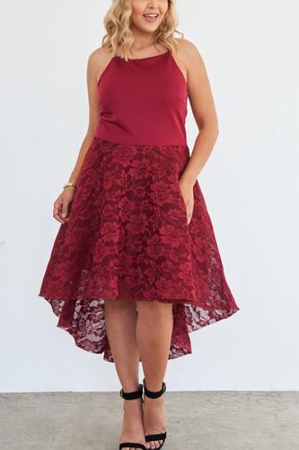 Plus Size Cabernet Square Neckline Hi-low Floral Lace Maxi Dress