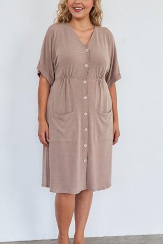 Comfy Mocha Fleece Short Sleeve Knee Length Button Up Dress