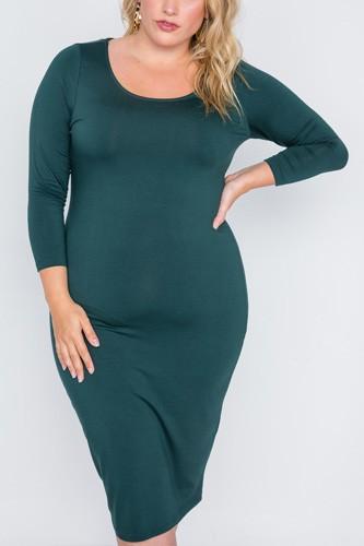 Plus Size Green Basic Long Sleeve Midi Dress