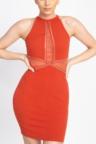 Rhinestone Trim Halter Dress
