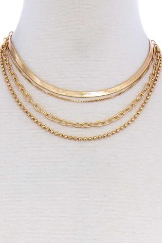 4 Layers Multi Chain Necklace Choker