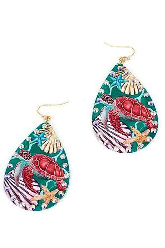 Designer Fashion Sea Turtle Print Tear Drop Earring