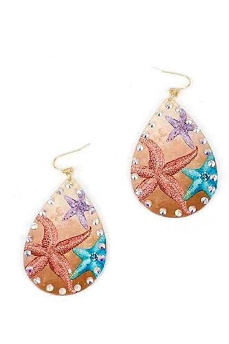 Chic Stylish Star Fish Print Tear Drop Earring