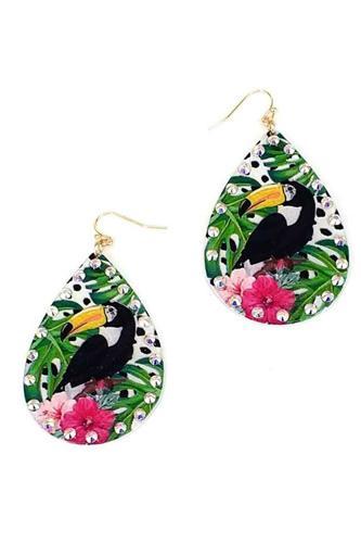 Fashion Tropical Bird Print Earring