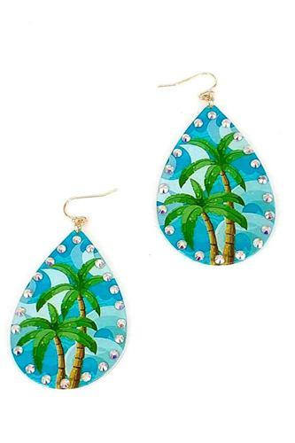 Fashion Tropical Printing Tear Drop Earring