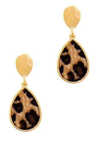 Cute Modern Tear Drop Leopard Fur Earring