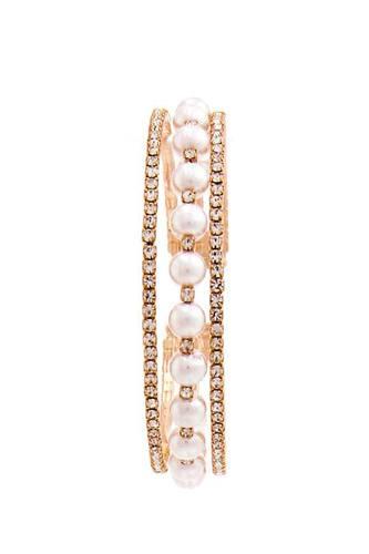 Rhinestone And Pearl Trendy Bracelet