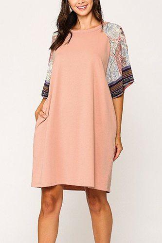 Solid Side Pocket Shift Dress