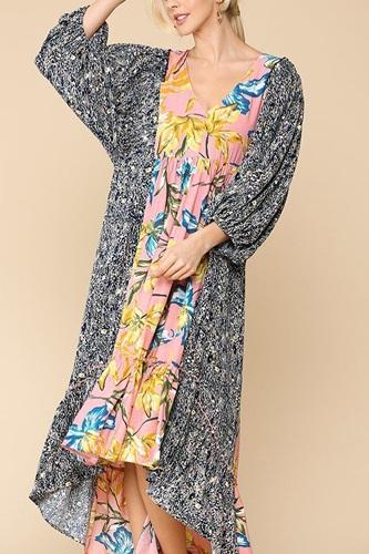 Floral Print V-neck Side Pocket Ruffled Dress