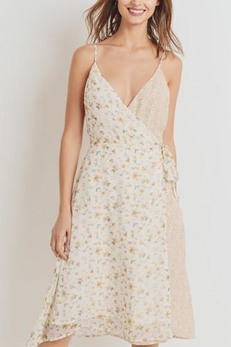 Floral Print Contrasted Side Tie Shoulder Strap Dress