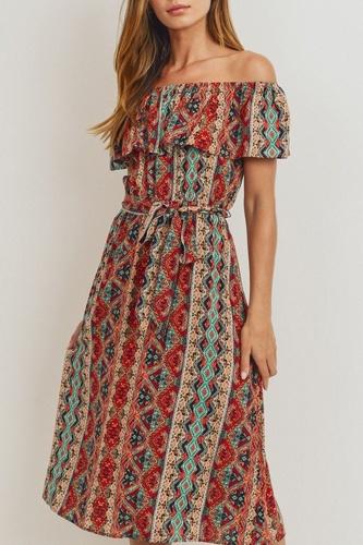 Off The Shoulder Waist Belt With Printed Midi Dress