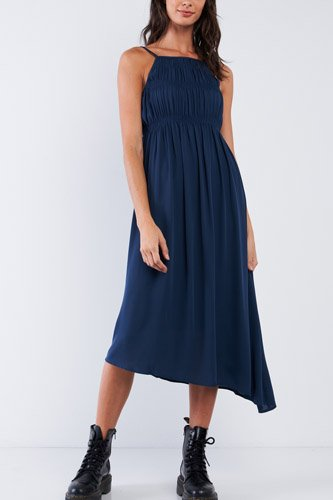 Navy Seal Blue Asymmetrical Square Neck Adjustable Cami Strap Maxi Dress