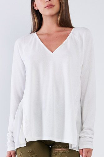 Off-white Loose Fit Long Sleeve V-neck Mesh Detail Tunic Pullover Top
