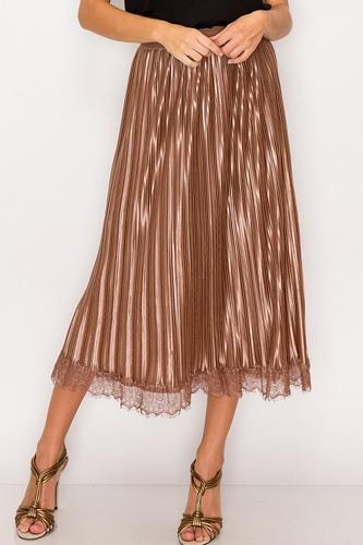 Lace Trim Accordion Pleated Midi Skirt