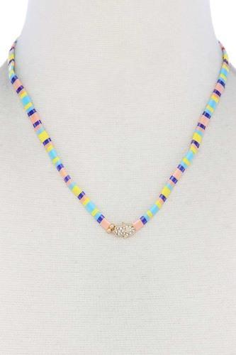 Hamsa Hand Charm Color Block Necklace