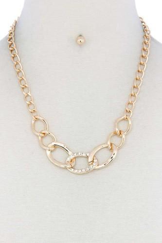 Rhinestone Oval Shape Linked Necklace
