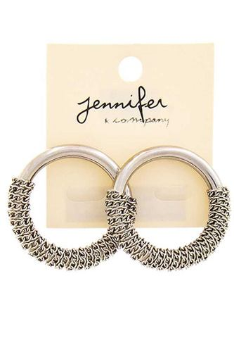 Chain Accent Cute Hoop Earring