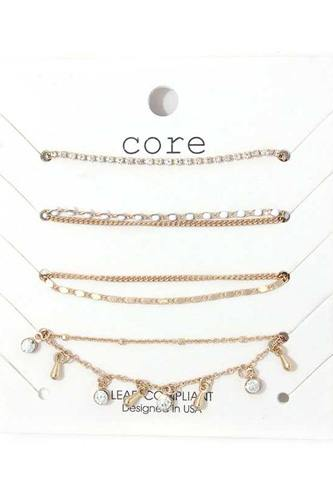 Rhinestone Dangle Metal Bracelet Set