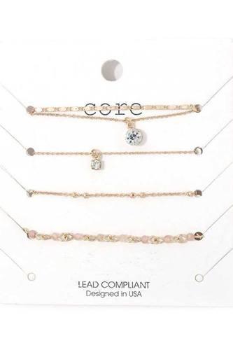 Rhinestone Metal Bracelet Set