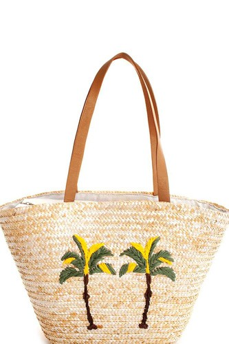 Chic Modern Natural Straw Woven Palm Tree Shopper Bag