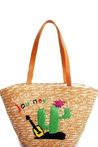 Natural Straw Woven Cactus Shopper Bag