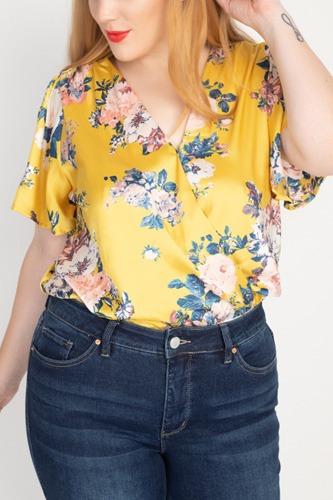 Floral Print Front Warp Bodysuit
