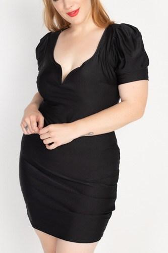 Satin Puff Sleeves Mini Dress