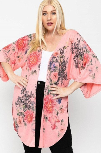 Floral Print, Long Body Cardigan